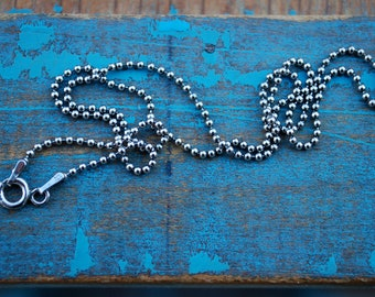 18 inch oxidized sterling silver bead chain, silver ball chain