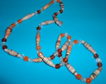 Vintage Paper wrapped beaded necklace*