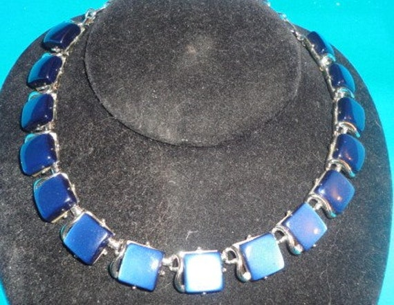 Thermoset Lucite blue necklace made by CORO