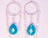 Silver & Aqua Jade Faceted Teardrop Earrings