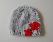 Hand Knitted Light Grey Toddler Hat With Red Orange Flowers Designed By Boca Lane