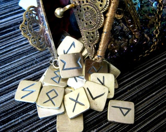 Rune Set, Metal Runes. Solid brass Elder Futhark runes with black symbols