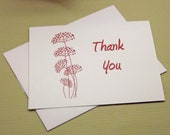 Dot Flowers, folded Thank You card, Set of 12- Handmade A2 Envelopes