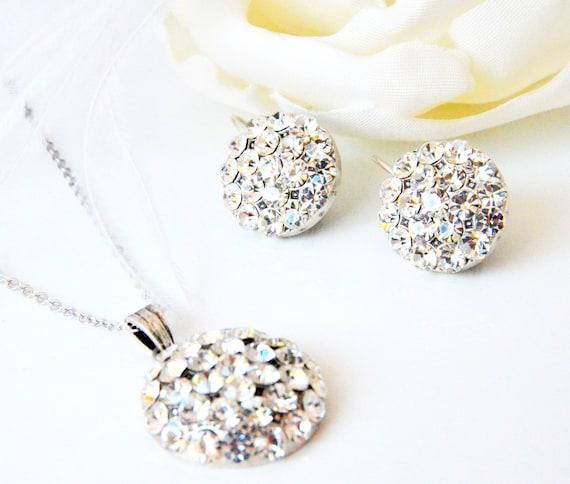 art deco clear crystal swarovski rhinestone tibetan silver plated necklace earrings wedding jewelry bridal jewelry bridesmaids jewelry set