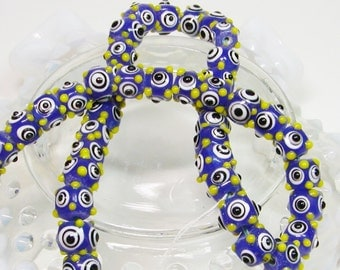 Lamp Work Beads, Blue, Black, Lime Green Beads, Polka Dot Lamp Work Beads, Beads
