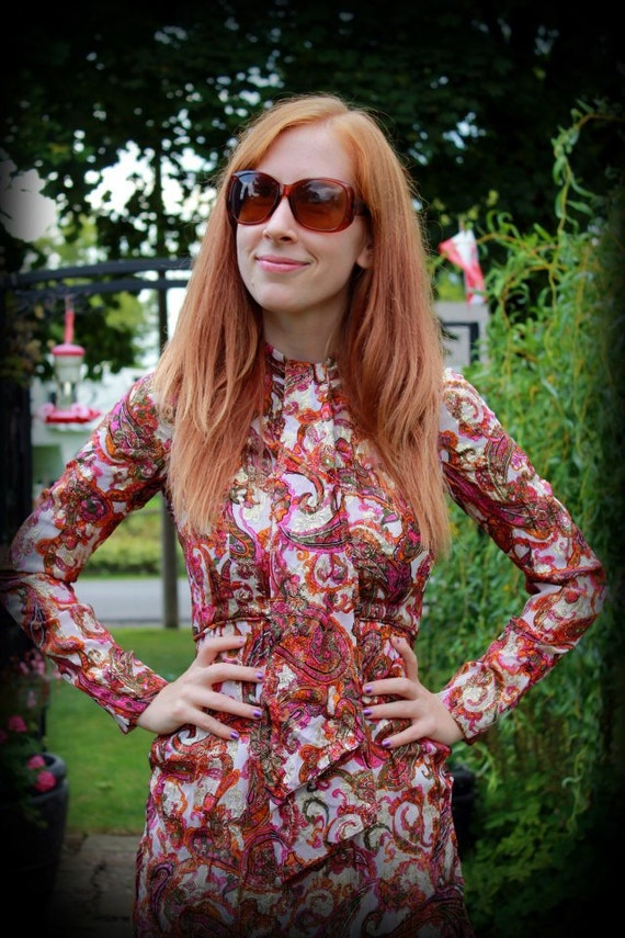 60s 1960s/ 70s 1970s Metallic Paisley Ascot Dress / Bohemian / XS Extra Small or S Small