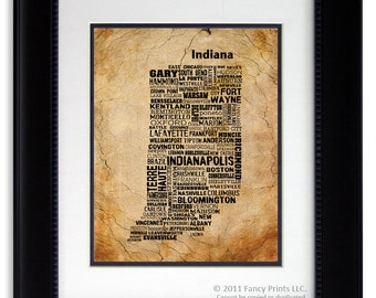 Cities of INDIANA State, Indiana Map Cities & Towns - Unique Vintage Style Typography Poster, Christmas gift for him