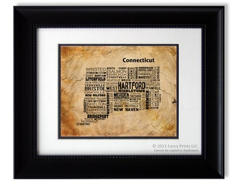 Unique housewarming gift - Cities of CONNECTICUT State, Connecticut Map Cities & Towns - Family Christmas Gift, Christmas gift for him