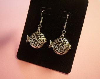 Silver Puffer Fish Earrings