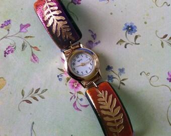 Sandcarved  Design Dichroic Glass Watch