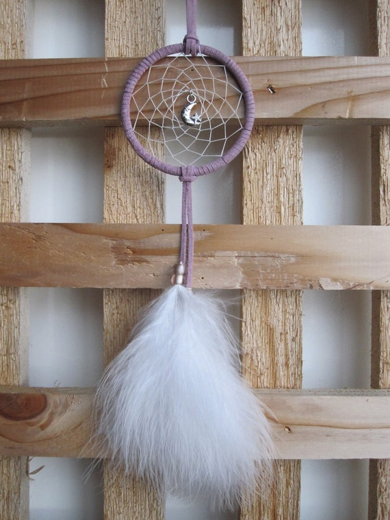 Violet Suede Dream Catcher with White Marabou Feathers