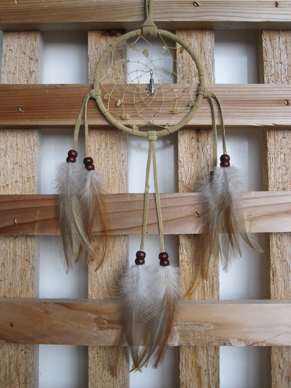 Buckskin Suede Dream Catcher with Rooster Cape Feathers
