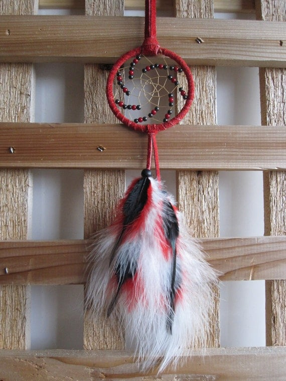 Red Suede Dream Catcher with Marabou Feathers