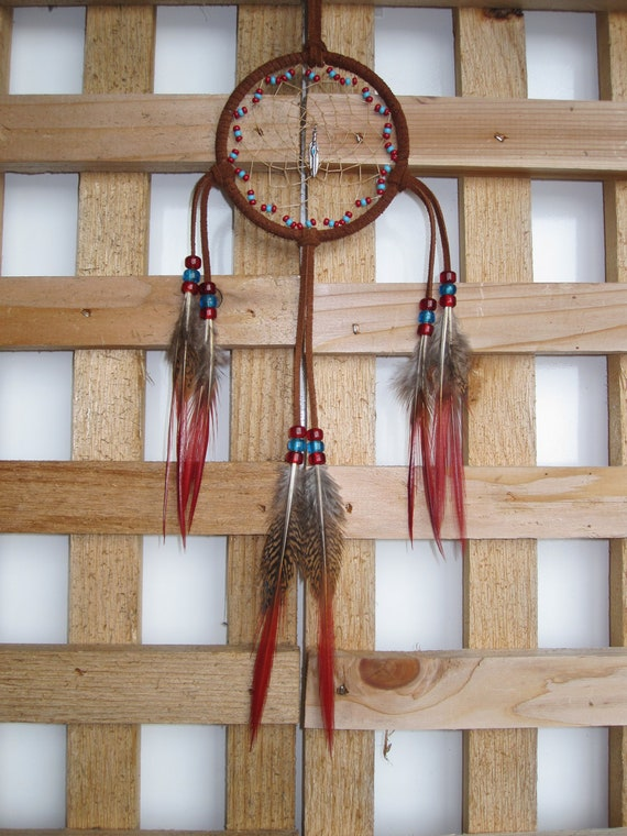 Cinnamon Suede Dream Catcher with Golden Pheasant Tail Feathers