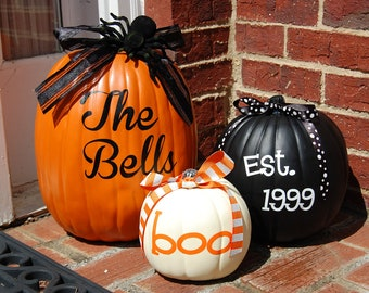 Set of 3 Personalized Pumpkins