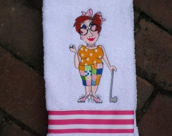 Golf Towel - Fiona the Golf Fashionista