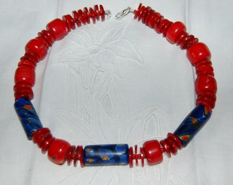 """Coral, coral, coral, with hand-made beads, this is truly a stunning choker, measuring 17.50"""".with 30 yr. old coral beads..."""