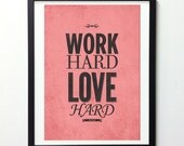 Work Hard Play Hard Wall Prints, Red Wall Decor, Typography Decor, Wall Poster, Prints Quotes, Inspiration Decor, Rustic Prints