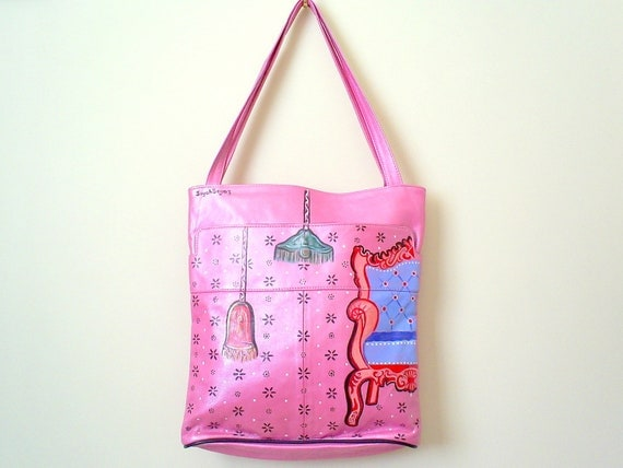 SALE Pink genuine leather shoulder bag, handpainted ARMCHAIR
