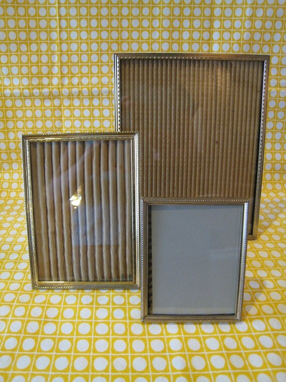 Vintage 8 x 10, 5 x 7 and 4 x 5 Metal Picture Frame Set - Gold Finish Mid Century Style Frames - Instant Collection of Frames