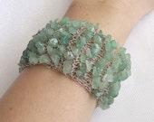 SALE -15% OFF Crochet wire bracelet, crochet wire jewelry, gemstone wire cuff, gemstone bracelet, green gemstone jewelry, aventurine jewelry