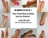 FREE SIPPING Wholesale any 3 barefoot sandals / anklet of my shop only 40 usd ONLY crochet barefoot sandals