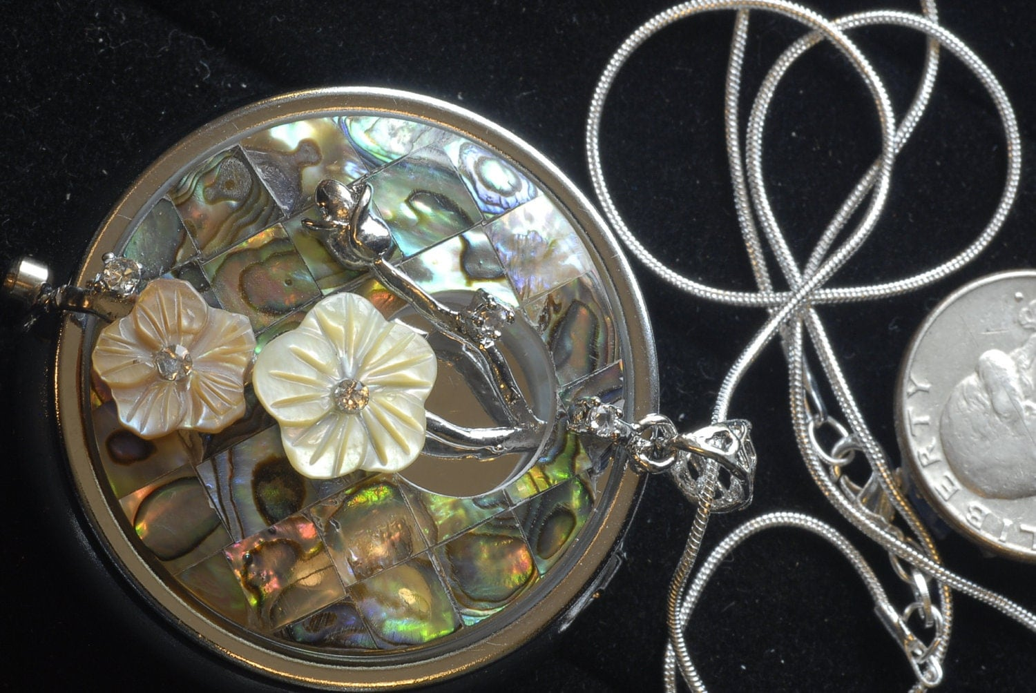 Abalone Flower Music Box Pendant Necklace With Silver Chain