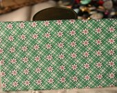 1930s Reproduction Cotton Fabric Fat Quarter Aunt Grace Scrap Bag 2004 Floral on Green Plaid