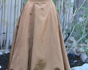 Victorian Gored Skirt in Taffeta Satin Steampunk Ruffle Underskirt