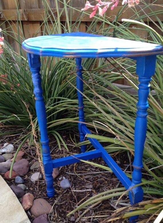 TREASURY LIST ITEM  Vintage Cobalt Blue Distressed Accent Table // Half Moon Table