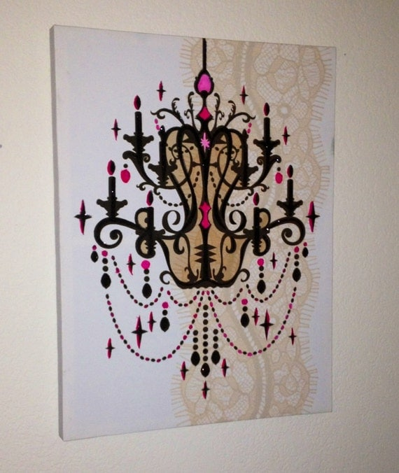 Canvas Art - Upcycled Stencil Chandelier in Pink & Black with Lace Shadow Background//shabby chic decor