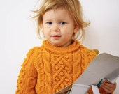 Hand Knit Baby Sweater, Knit Baby Clothes, Mustard Yellow Kids Sweater, Made to order - creaspir