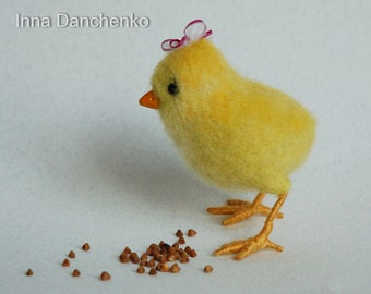 Yellow needle felted chicken - ready to ship