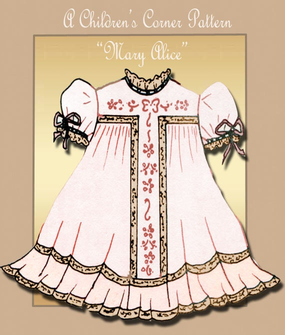 The Childrens Corner Heirloom Dress Pattern Mary Alice Size