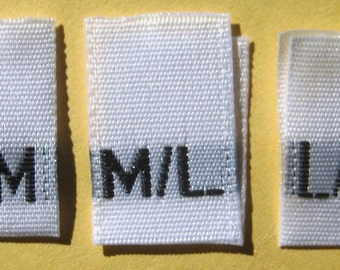Mixed Lot of 500 pcs White Woven Women Clothing Labels, Size Tags - S/M, M/L, L/XL - 166 pcs each size