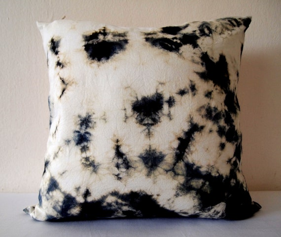 Decorative Throw Pillow Cover - Dark Green - Unique Abstract Pattern - Hand Dyed Fabric - 14 x 14 - Batik - Tie Dye - Shibori