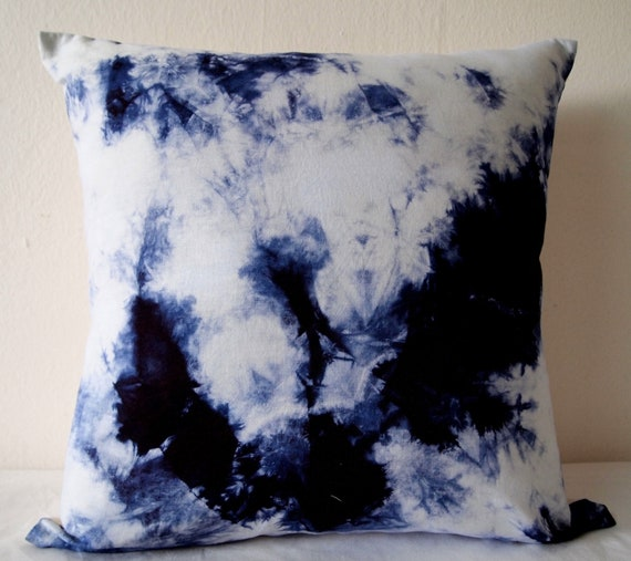 Decorative Throw Pillow Cover - Electric Blue - Unique Abstract Pattern - Hand Dyed Fabric - 16 x 16 - Batik - Tie Dye - Shibori