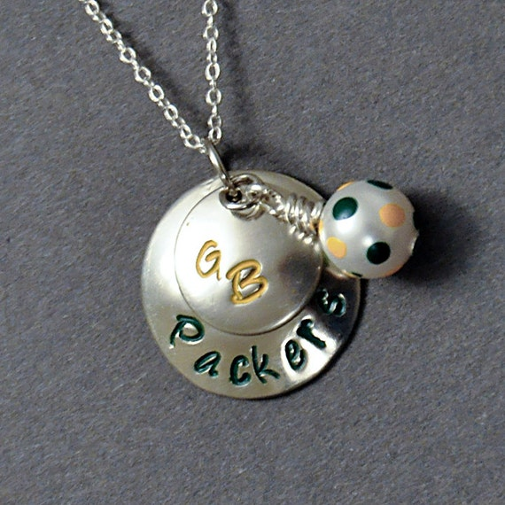 green bay packers inspired hand stamped necklace football