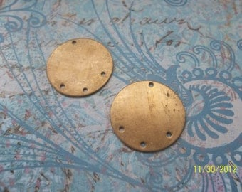 2 Vintage Brass Solid Flat Disc    ...   t-39
