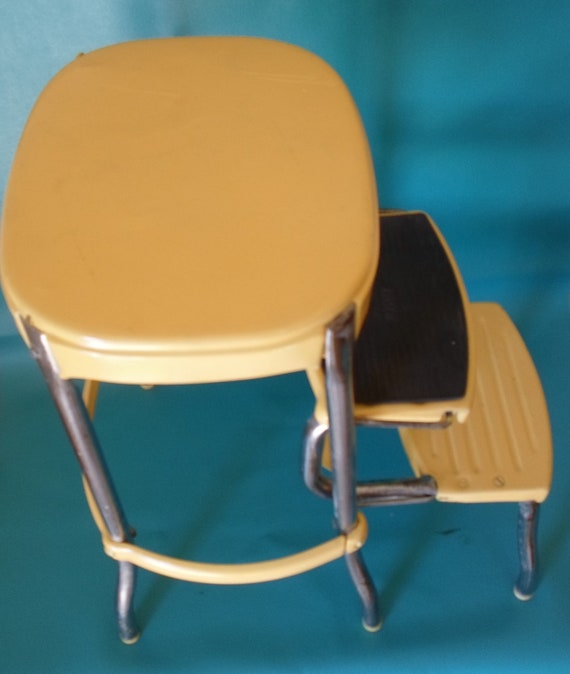 Vintage Cosco Step Stool Counter Stool Lemmon Yellow Chippy
