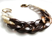 Large Chunky Bracelet - Plastic Curved Chain - Marbled Brown & Ivory