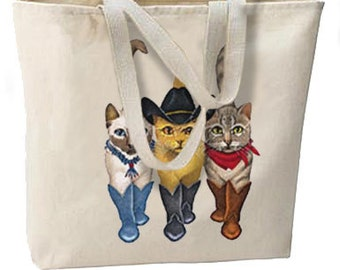 Cowboy Cats New Jumbo Tote Bag, Great For Beach, All Purpose.