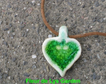 Green Glass Heart Pendant, Valentine Jewelry, Valentine Pendant, Stoneware Aromatherapy Heart, Gift of Love, Heart Pendant
