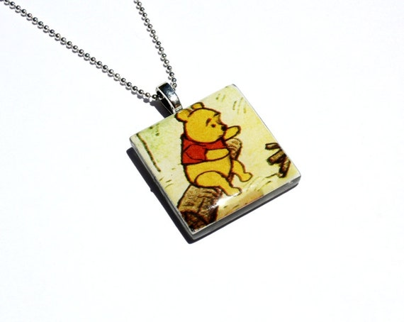 Winnie the Pooh, Pendant Necklace, Upcycled, Vintage Story Book