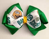 Football Hair Bow- Green Bay Packers- Customize Your Team