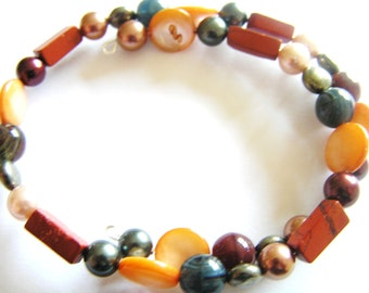 Orange Shell, Red Jasper, Pyrite, Shell Pearl Oval Memory Wire Bracelet