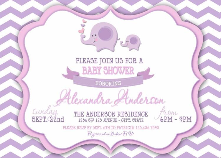 chevron elephant baby girl shower invitation chevron