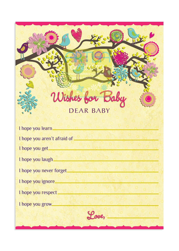 birds baby shower wishes for baby card birds by artisacreations