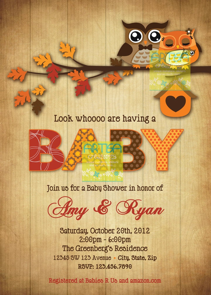 owls baby shower invitation fall owls baby shower invitation
