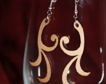 Wood Earrings - Laser Cut - Curl - Swish - Swirl